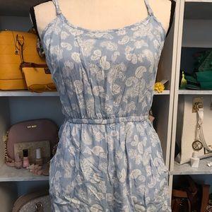 Light blue and white paisley romper